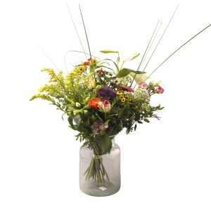 Harlequin bouquet with vase